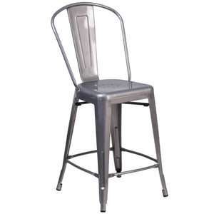 24'' High Clear Coated Indoor Counter Height Stool with Back