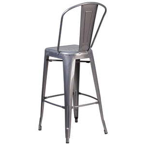 30'' High Clear Coated Indoor Barstool with Back