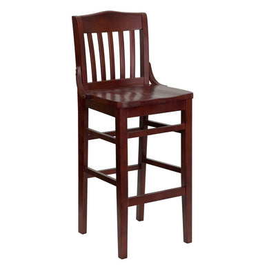 HERCULES Series School House Back Mahogany Wood Restaurant Barstool