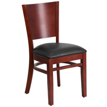 Load image into Gallery viewer, Lacey Series Solid Back Mahogany Wood Restaurant Chair - Black Vinyl Seat