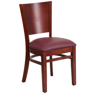 Lacey Series Solid Back Mahogany Wood Restaurant Chair - Burgundy Vinyl Seat