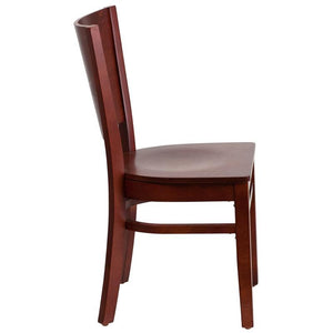Lacey Series Solid Back Mahogany Wood Restaurant Chair