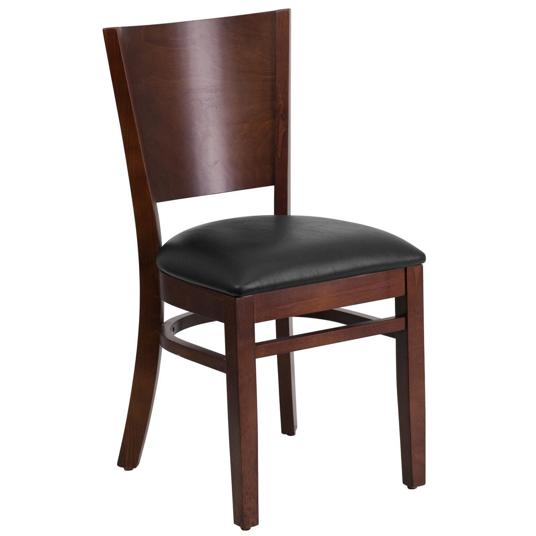 Lacey Series Solid Back Walnut Wood Restaurant Chair - Black Vinyl Seat
