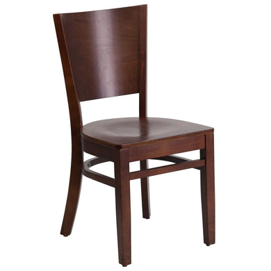 Lacey Series Solid Back Walnut Wood Restaurant Chair