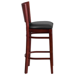 LACEY Series Solid Back Mahogany Wood Restaurant Barstool - Black Vinyl Seat