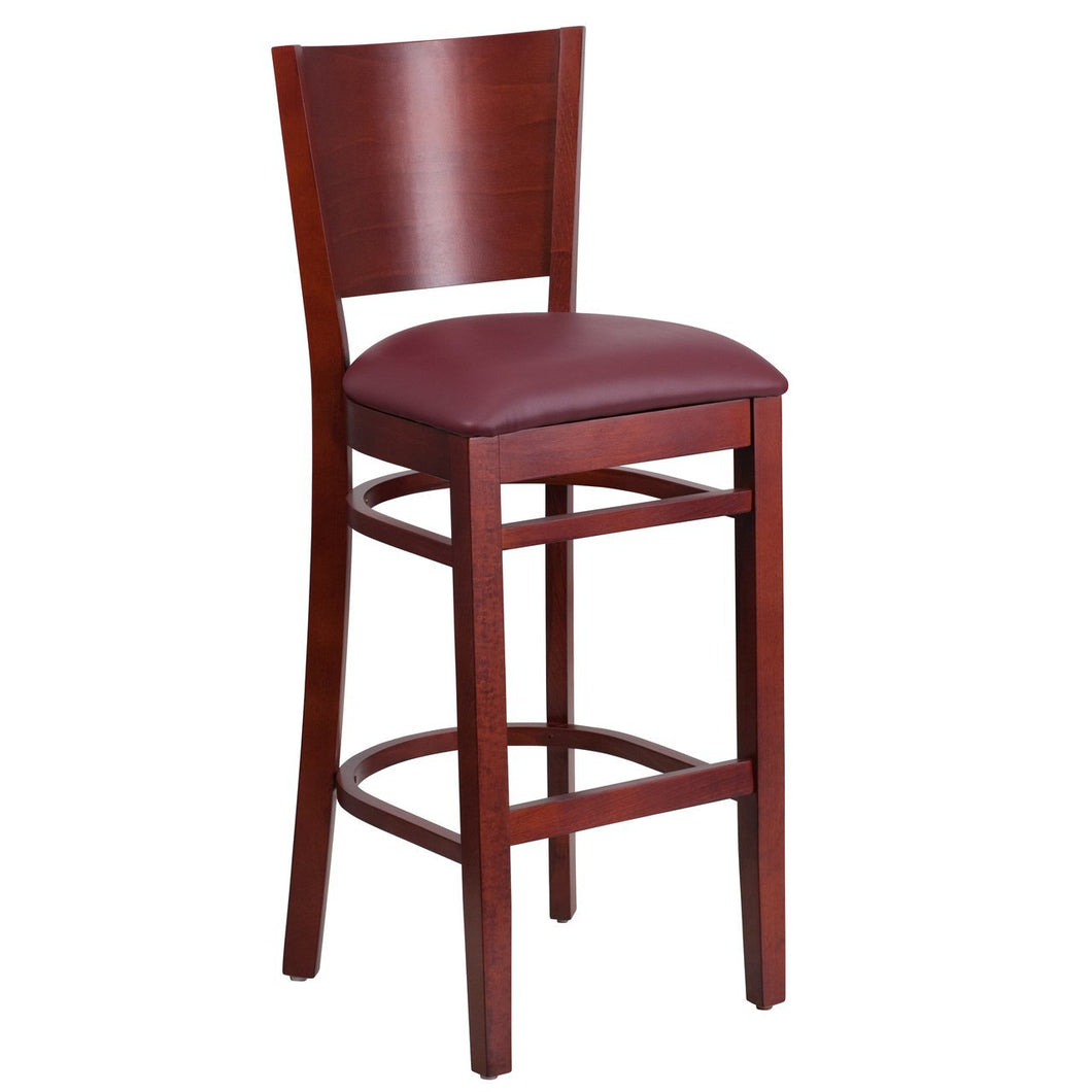 LACEY Series Solid Back Mahogany Wood Restaurant Barstool - Burgundy Vinyl Seat