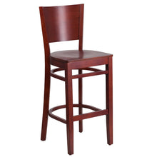 Load image into Gallery viewer, LACEY Series Solid Back Mahogany Wood Restaurant Barstool