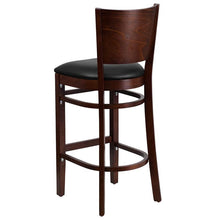 Load image into Gallery viewer, LACEY Series Solid Back Walnut Wood Restaurant Barstool - Black Vinyl Seat