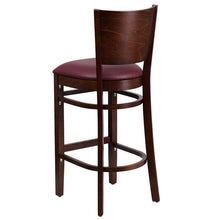 Load image into Gallery viewer, LACEY Series Solid Back Walnut Wood Restaurant Barstool - Burgundy Vinyl Seat