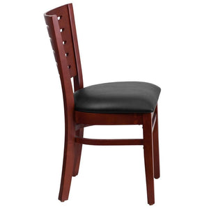 Darby Series Slat Back Mahogany Wood Restaurant Chair - Black Vinyl Seat