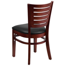 Load image into Gallery viewer, Darby Series Slat Back Mahogany Wood Restaurant Chair - Black Vinyl Seat