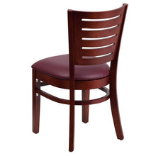 Load image into Gallery viewer, Darby Series Slat Back Mahogany Wood Restaurant Chair - Burgundy Vinyl Seat