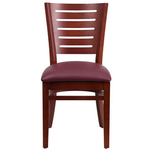 Darby Series Slat Back Mahogany Wood Restaurant Chair - Burgundy Vinyl Seat