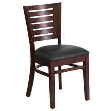 Load image into Gallery viewer, Darby Series Slat Back Walnut Wood Restaurant Chair - Black Vinyl Seat