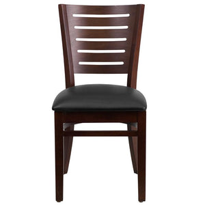 Darby Series Slat Back Walnut Wood Restaurant Chair - Black Vinyl Seat