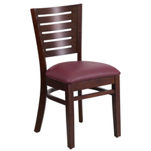 Load image into Gallery viewer, Darby Series Slat Back Walnut Wood Restaurant Chair - Burgundy Vinyl Seat
