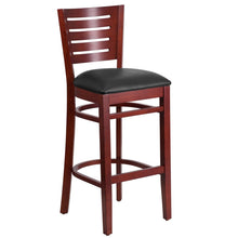 Load image into Gallery viewer, DARBY Series Slat Back Mahogany Wood Restaurant Barstool - Black Vinyl Seat