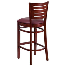 Load image into Gallery viewer, DARBY Series Slat Back Mahogany Wood Restaurant Barstool - Burgundy Vinyl Seat