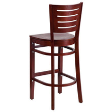 Load image into Gallery viewer, DARBY Series Slat Back Mahogany Wood Restaurant Barstool