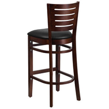Load image into Gallery viewer, DARBY Series Slat Back Walnut Wood Restaurant Barstool - Black Vinyl Seat