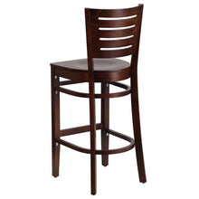 Load image into Gallery viewer, DARBY Series Slat Back Walnut Wood Restaurant Barstool