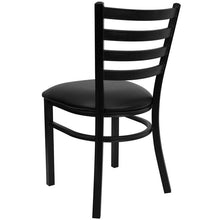 Load image into Gallery viewer, Hercules Series Black Ladder Back Metal Restaurant Chair with Black Vinyl Seat