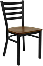 Load image into Gallery viewer, HERCULES Series Black Ladder Back Metal Restaurant Chair - Cherry Wood Seat