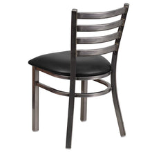 Load image into Gallery viewer, HERCULES Series Clear Coated Ladder Back Metal Restaurant Chair - Black Vinyl Seat