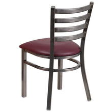 Load image into Gallery viewer, HERCULES Series Clear Coated Ladder Back Metal Restaurant Chair - Burgundy Vinyl Seat