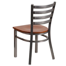 Load image into Gallery viewer, HERCULES Series Clear Coated Ladder Back Metal Restaurant Chair - Cherry Wood Seat