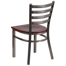 Load image into Gallery viewer, HERCULES Series Clear Coated Ladder Back Metal Restaurant Chair - Mahogany Wood Seat