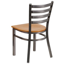 Load image into Gallery viewer, HERCULES Series Clear Coated Ladder Back Metal Restaurant Chair - Natural Wood Seat