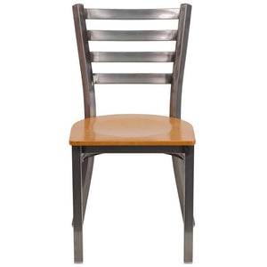 HERCULES Series Clear Coated Ladder Back Metal Restaurant Chair - Natural Wood Seat