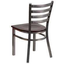 Load image into Gallery viewer, HERCULES Series Clear Coated Ladder Back Metal Restaurant Chair - Walnut Wood Seat