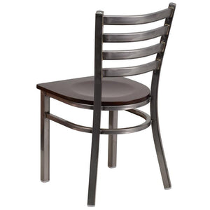 HERCULES Series Clear Coated Ladder Back Metal Restaurant Chair - Walnut Wood Seat