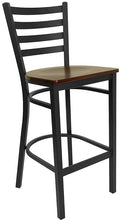 Load image into Gallery viewer, HERCULES Series Black Ladder Back Metal Restaurant Barstool - Mahogany Wood Seat