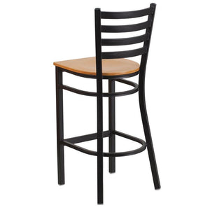 HERCULES Series Black Ladder Back Metal Restaurant Barstool - Natural Wood Seat
