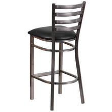 Load image into Gallery viewer, HERCULES Series Clear Coated Ladder Back Metal Restaurant Barstool - Black Vinyl Seat