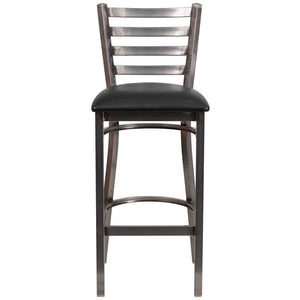 HERCULES Series Clear Coated Ladder Back Metal Restaurant Barstool - Black Vinyl Seat
