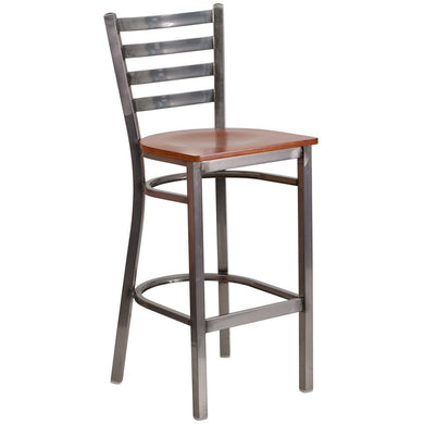 HERCULES Series Clear Coated Ladder Back Metal Restaurant Barstool - Cherry Wood Seat