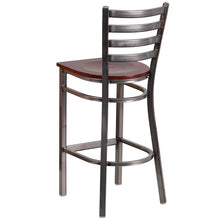 Load image into Gallery viewer, HERCULES Series Clear Coated Ladder Back Metal Restaurant Barstool - Mahogany Wood Seat