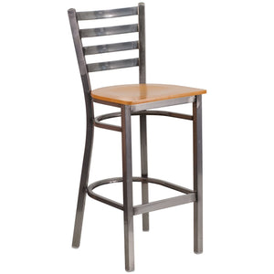 HERCULES Series Clear Coated Ladder Back Metal Restaurant Barstool - Natural Wood Seat