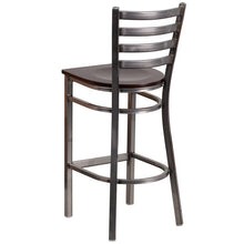 Load image into Gallery viewer, HERCULES Series Clear Coated Ladder Back Metal Restaurant Barstool - Walnut Wood Seat