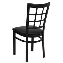 Load image into Gallery viewer, HERCULES Series Black Window Back Metal Restaurant Chair - Black Vinyl Seat
