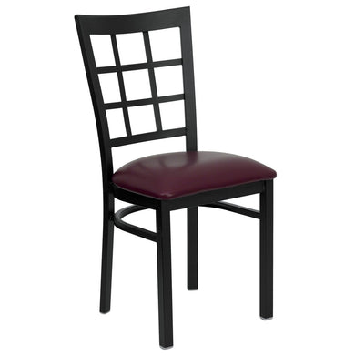 HERCULES Series Black Window Back Metal Restaurant Chair - Burgundy Vinyl Seat