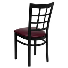 Load image into Gallery viewer, HERCULES Series Black Window Back Metal Restaurant Chair - Burgundy Vinyl Seat
