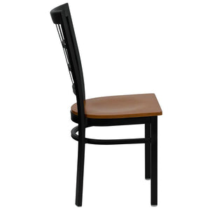 HERCULES Series Black Window Back Metal Restaurant Chair - Cherry Wood Seat