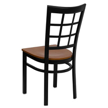 Load image into Gallery viewer, HERCULES Series Black Window Back Metal Restaurant Chair - Cherry Wood Seat