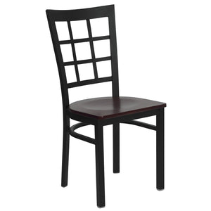 HERCULES Series Black Window Back Metal Restaurant Chair - Mahogany Wood Seat
