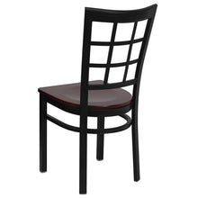 Load image into Gallery viewer, HERCULES Series Black Window Back Metal Restaurant Chair - Mahogany Wood Seat